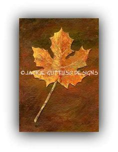 """Maple leaf art, Archival print, 5 x 7"""", Fall decor, Kitchen art, Collage print, Painting of acrylic leaf painting, Fall art, Autumn decor by JackieGuttusoDesigns on Etsy"""