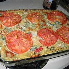 Tonights dinner veggie and cheese lasagna. I adapted by mixing parsley into the cottage/ricotta cheese mixture and using fresh spinach and adding basil.