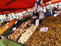 Because its food markets are unbeatable. That's a mushroom stall in Helsinki's Market Square.