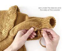 Knitted Ruffle Sweater for girl [ Knitting Pattern & Tutorial ] How To Start Knitting, Knitting For Kids, Baby Knitting Patterns, Knitting Stitches, Baby Girl Cardigans, Girls Sweaters, Knitted Baby Cardigan, Garter Stitch, Crochet Baby