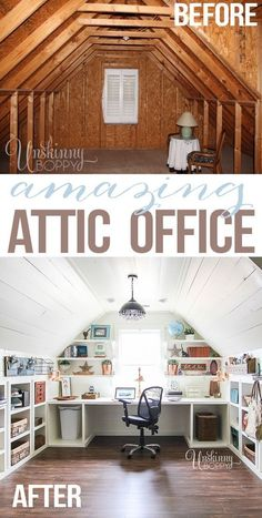 Attic turned office renovation Not for the attic, but I like the shelving for craft room. Attic turned office renovation Not for the attic, but I like the shelving for craft room. Attic Spaces, Attic Rooms, Small Spaces, Attic Bathroom, Attic Playroom, Small Attic Room, Attic Library, Bathroom Ideas, Small Attic Bedrooms