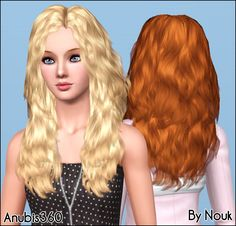 Nouk's Long Wavy Hair ~ Converted for Teen-to-Elder