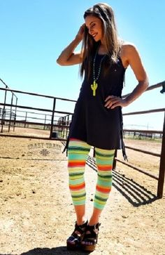 Crazy Train Serape Stripe Cactus Leggings Capri Length Size L/XL Southwestern  #CrazyTrain