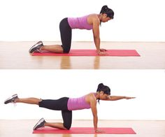 The Bird Dog: Doing this move helps strengthen your back and core while increasing flexibility.