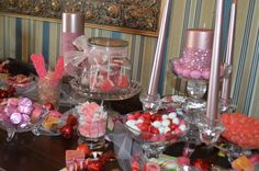 Candy buffet for favors.  Our theme was pink!