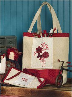 Redwork Tote & Sewing Kit
