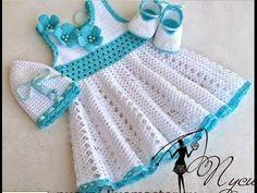 Crochet dress| How to crochet an easy shell stitch baby / girl's dress for beginners 7 - YouTube