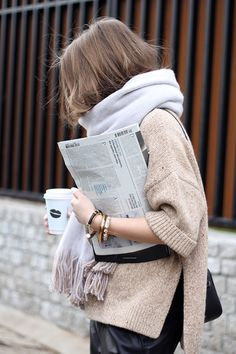 camel/beige, cozy and easy to layer sweater, hat and scarf
