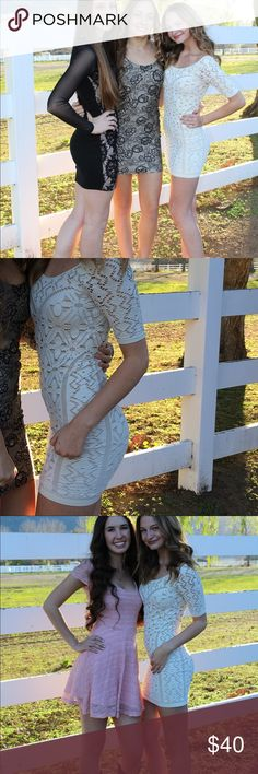 White dress Cute lacy body con dress. Perfect for a night out or homecoming. bebe Dresses Mini