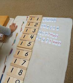 Offerings from the world of a Montessori teacher. Montessori Kindergarten, Montessori Homeschool, Montessori Elementary, Montessori Classroom, Montessori Activities, Math Classroom, Maths, Math Work, Math For Kids