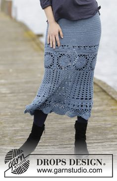 "#Crochet DROPS skirt with lace pattern and double crochet, worked in each direction from crochet squares in ""Fabel""."