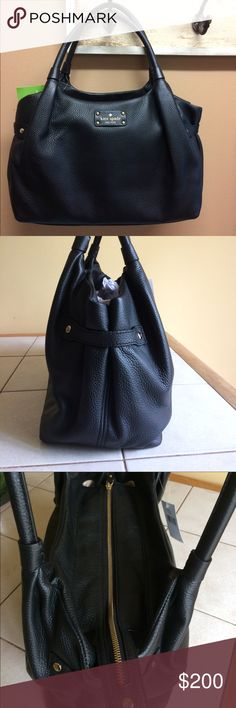 """NWT Kate Spade black leather satchel NWT Kate Spade black pebbled leather satchel. Zip closure and has straps on sides. Interior has zip section and two slip pockets. Double rolled handle measures 8"""". Approx measurements 16""""L x 9.5""""H x 5.5""""W. kate spade Bags Satchels"""