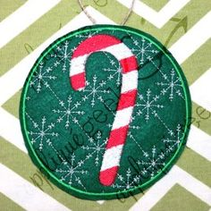 In the Hoop Candy Cane Christmas Ornament Applique Embroidery Design
