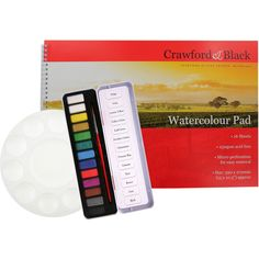 Watercolour Pad With 13 Watercolour Tablets and Brush With Palette | Watercolour…