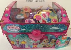 Shimmer and Shine 20 piece Dress Up Trunk w/ slippers, bangles, gems, barrettes #JustPlay
