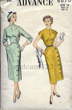 Vintage 1952 Wiggle Dress Side Button Skirt by sydcam123 on Etsy, $20.00