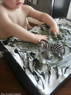 Play Create Explore: Zebra Shaving Cream Marbling Craft