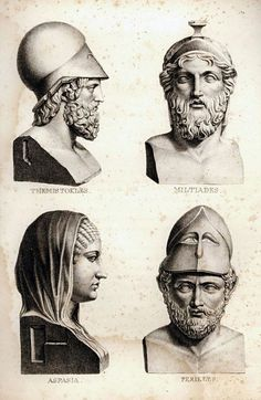 Busts of Themistocles - Miltiades - Aspasia and Pericles. 1823.Johann Jakob Horner. German 1772-1831. engraving.http://hadrian6.tumblr.com