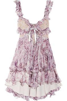 ruffled printed silk-chiffon dress alexander mcqueen s/s2012 net-a-porter