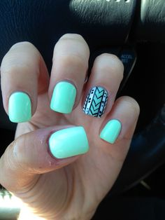 "Another pinner: ""Got me nails  diddd"" I love the solid color with simple black and cute tribal pattern!"