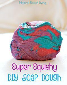 Super Squishy DIY Soap Dough Recipe, Fun Sensory Play, Great Homemade Soap, A Perfect DIY Gift Idea, Kids love this colorful soap sensory experience
