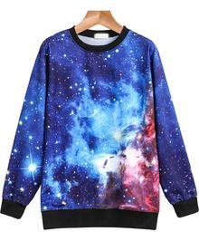 Blue Long Sleeve Galaxy Print Loose Sweatshirt US$14.67