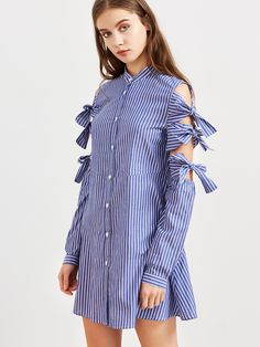 To find out about the Blue Striped Bow Tie Sleeve Shirt Dress at SHEIN, part of our latest Dresses ready to shop online today! Stylish Tops, Stylish Dresses, Hijab Fashion, Fashion Dresses, Hijab Stile, Sleeves Designs For Dresses, Frack, Everyday Dresses, African Attire