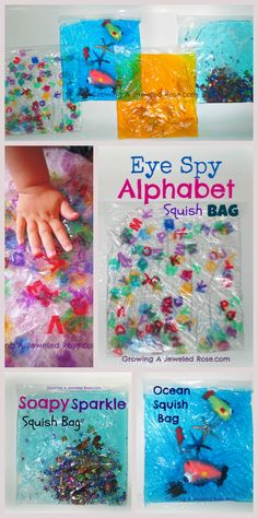 Lots of sensory bag ideas! These are easy to make, mess free, and great fun for…