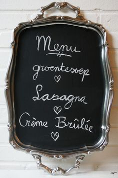 Chalkboard painted serving tray from thrift store Doable!