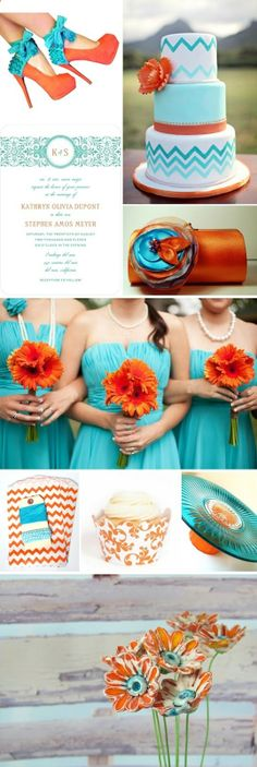 Inspiration Boards Turquoise  Orange ~ Savvy Deets Bridal - A Wedding Blog