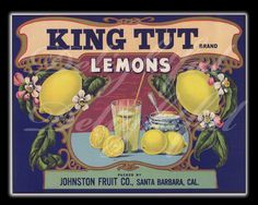 Lemon Fruit Crate Label Restored Reproduction Vintage Print Kitchen 8 x 10. $15.00, via Etsy.