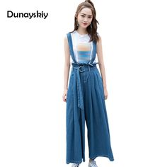fashion wide leg women jumpsuits loose widen tide full length jumpsuit for females sashes lace up popular clothing ladies girls  #Affiliate