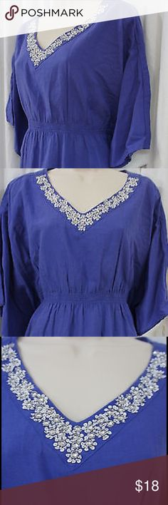 🆕 Style&co. Top Ditzy Blue Beaded Tunic Style&co. Top Ditzy Blue Beaded Dolman Caftan Casual Tunic Item specifics Condition:NWT Brand:Style&co. Material:100% CottonSize Various (women) Color:Blue Pattern:SolidOccasion:Casual Style:Tunic with a beautiful hand beaded neck line  Length:  Above Knee (goes well with capris or over a bathing suit. Care Instructions Machine Wash            Sleeve Style:Batwing, Dolman. Style & Co Tops Tunics