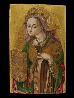 St Catherine of Alexandria, 1481 by Vittore Crivelli.  Fermo, Italy.  Tempera & gilt on panel.
