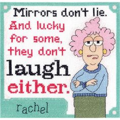 "Janlynn-Aunty Acid Counted Cross Stitch Kit. ""Mirrors don't lie. And lucky for some, they don't laugh either."" Creative designs and quality products are put in to each of Janlynn's kits. This package"