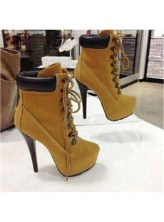 Womens Fashion High Stilettos Lace Up Shoes Suede Platform Pumps Ankle Boots Lace Up High Heels, Super High Heels, Lace Up Ankle Boots, High Heel Boots, Lace Up Shoes, Heeled Boots, Boot Heels, Fab Shoes, Ankle Heels