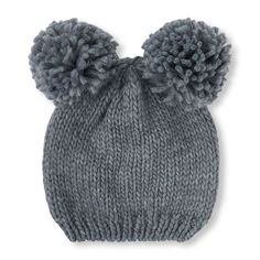 Girls Pom Pom Ears Beanie - Gray Hat - The Children s Place Children s Place 856941aa82f7