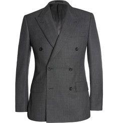 KingsmanGrey Double-Breasted Birdseye Wool Suit