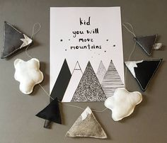 Items similar to Monochrome Mountain Garland Cloud Woodland Forest Tree Kids Children's Baby Nursery Bunting Grizzly Bear Nature Baby Shower Gift on Etsy Felt Diy, Felt Crafts, Diy And Crafts, Baby Boy Shower, Baby Shower Gifts, Nursery Bunting, Banners, Natural Baby, Diy Party Decorations
