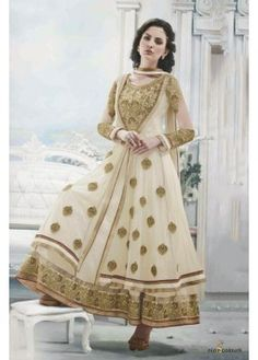 Net and Georgette Gown In Cream Colour