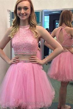Two Piece Prom Dresses, Open Back Formal Dresses, Pink Evening Dresses, Short Homecoming Dresses, Tulle Party Dresses