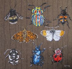 Insect Textile Art - an original, one of a kind piece of textile art created with hand stitching on herringbone fabric.