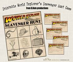 Free Printable World Explorer Indiana Jones Scavenger Hunt Game.  Great idea to use for Cub Scouts - especially for the theme Passport to other lands!