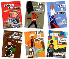"The ""This is"" series by M. Sasek.  Outdated text, but the illustrations will never go out of style.  The series began with This is Paris in 1959 and ended in 1974 with This is Historic England. In between were books on London, Rome, New York, Edinburgh, Munich, Venice, San Francisco, Israel, Cape Canaveral, Ireland, Hong Kong, Greece, Texas, the United Nations, Washington D.C. and Australia.  All published by W. H. Allen in the UK, Macmillan in the US and various other publishers worldwide."