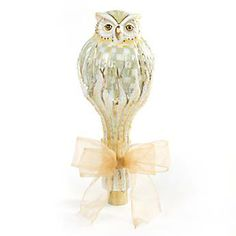 Glass Tree Topper - Parchment Check Owl