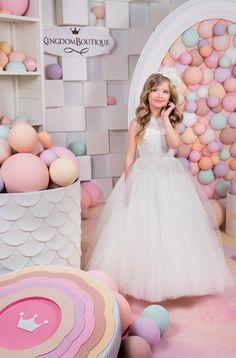 Elfenbein-Blumen-Mädchen-Kleid Geburtstag von Butterflydressua