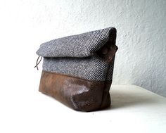 Toiletry bag, roll-up men bag,shaving bag, groomsmens gift, lunch bag, 2 ways pouch,Faux suede and herringbone in black and white. via Etsy