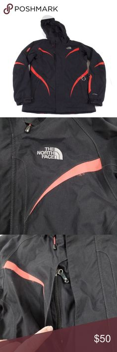 """The North Face Womens Parka Black ski/snowboard parka by The North Face. Tons of pockets, two-way zipper, detachable hood, red trim. This jacket is equipped with a RECCO Avalanche Rescue Reflector. There is some cosmetic wear to the coat, but it is still sturdy with lots of life left in it. Women's M.  Pit to pit: 22""""  Shoulders: Raglan Sleeve (shoulder to cuff): 34"""" Length: 28""""  There is some wear to the red trim near the shoulders--like a backpack put wear the edges. Also, the red fabric…"""