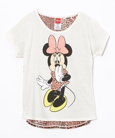 Look at this Minnie Mouse Ivory & Coral Leopard Tee - Girls on #zulily today!