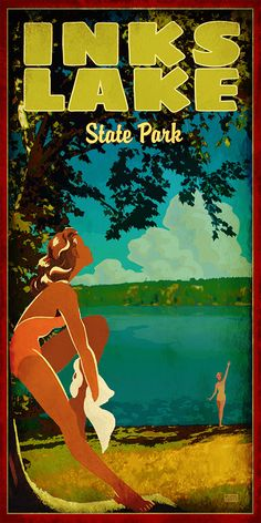 Inks Lake by Texas Poster Texas Roadtrip, Texas Travel, Inks Lake State Park, Breakfast In America, Miss Texas, Only In Texas, Tourism Poster, Airline Travel, Vintage Travel Posters